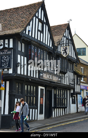 17th century 'The Black Lion' Inn, Bridge Street, Bishop's Stortford, Hertfordshire, England, United Kingdom - Stock Photo