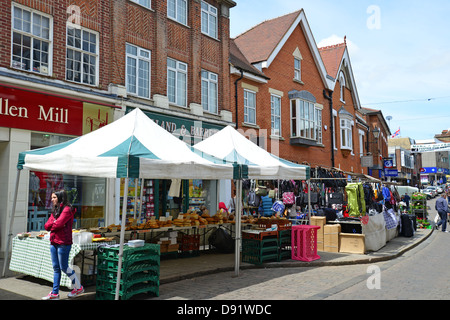 Bakery stall at Farmer's market, South Street, Bishop's Stortford, Hertfordshire, England, United Kingdom - Stock Photo
