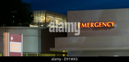 Signs for local emergency entrace of the hospital - Stock Photo