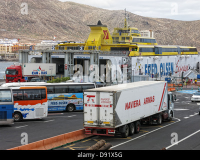 Fred Olsen Trimaran loading at Ferry port at Los Cristianos town, Southern Tenerife, Canary Islands Spain - Stock Photo