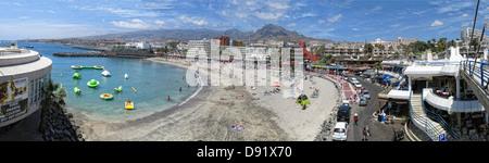 Panorama of beach at Puerto Colon, Near La Pinta beach, between Playa Las americas and Costa Adeje, South Tenerife - Stock Photo