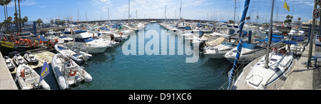 Panorama of harbor / harbour at Puerto Colon, Near La Pinta beach, between Playa Las americas and Costa Adeje, South - Stock Photo
