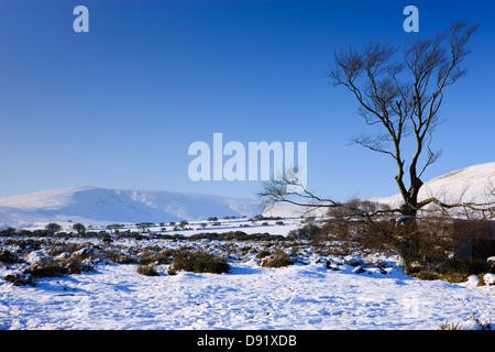 Mynachlogddu Preseli Hills Pembrokeshire West Wales in snow - Stock Photo