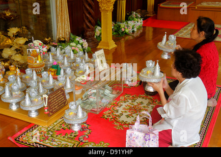 Bangkok Thailand Pom Prap Sattru Phai Wat Saket Ratcha Wora Maha Wihan Buddhist temple inside interior shrine Asian - Stock Photo