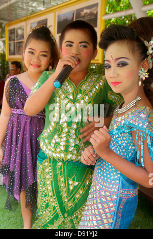 Bangkok Thailand Pom Prap Sattru Phai Wat Saket Ratcha Wora Maha Wihan Buddhist temple Golden Mount Asian boy girl - Stock Photo