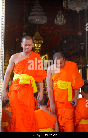 Bangkok Thailand Pom Prap Sattru Phai Wat Saket Ratcha Wora Maha Wihan Buddhist temple Asian man monks robe kasaya - Stock Photo