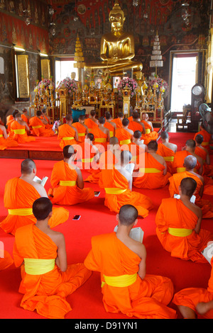 Bangkok Thailand Pom Prap Sattru Phai Wat Saket Ratcha Wora Maha Wihan Buddhist temple shrine inside interior gold - Stock Photo