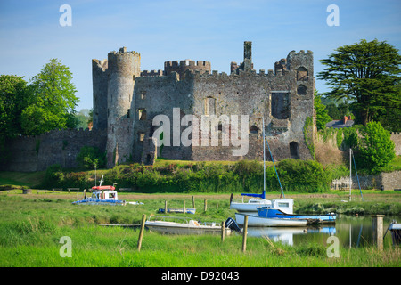 Laugharne Castle Carmarthenshire Wales - Stock Photo