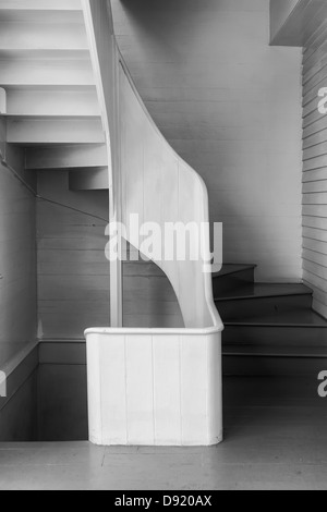 B&W image of an interior stair well in the style of Edward Weston. For use by hospitality and institutional interior - Stock Photo
