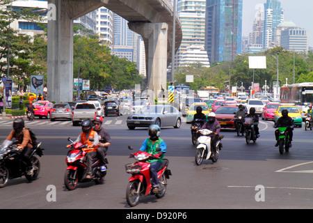 Bangkok Thailand Silom Ratchadamri Road Rama IV Sala Deang Junction intersection Bangkok Mass Transit System BTS - Stock Photo