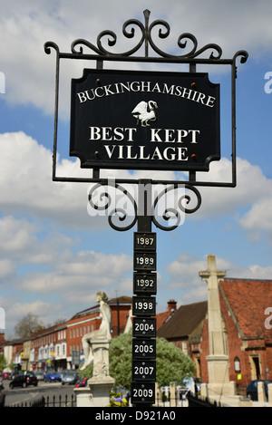 Buckinghamshire 'Best kept village' sign on Green, High Street, Marlow, Buckinghamshire, England, United Kingdom - Stock Photo