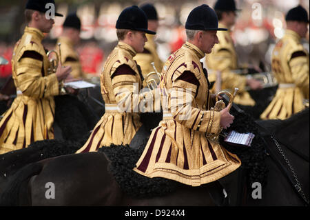 Westminster, London, UK. 8th June, 2013. The Colour of the 1st Battalion Welsh Guards is trooped in the presence - Stock Photo