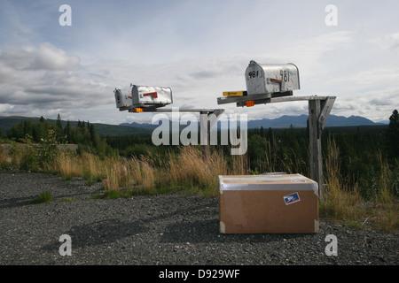 mailboxes on the road, alaska, usa - Stock Photo