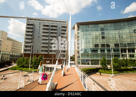 Trinity Bridge over the River Irwell , Manchester. Picture taken looking towards Lowry Hotel , Salford - Stock Photo
