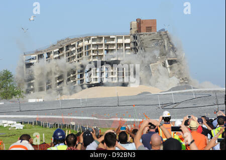 Governors Island, NY, US. 9 June 2013. Using more than 200 pounds of dynamite, an 11-story building was imploded - Stock Photo