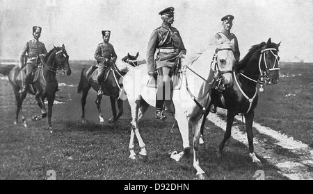 German soldier and field marshal General von Mackensen (on white horse) is seen with his staff in Romania. - Stock Photo