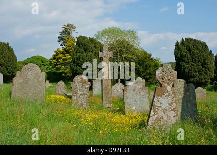 The 9th century cross at St Paul's Church, Irton, near Eskdale Green, West Cumbria, England UK - Stock Photo