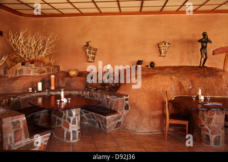 Restaurant, Fest Inn Fels Farm Lodge, Ranch Koiimasis, Tiras Mountains, Southern Namibia, Africa - Stock Photo