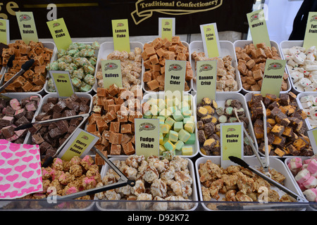 Fudge selection in confectionery stall at Farmer's market, Bishop's Stortford, Hertfordshire, England, United Kingdom - Stock Photo