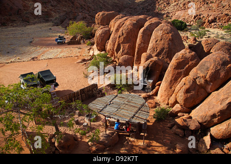Camp site at Ranch Koiimasis, Tiras Mountains, Southern Namibia, Africa - Stock Photo
