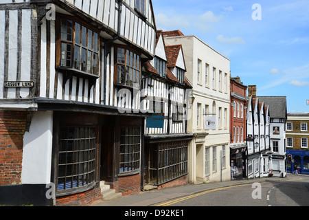 17th century former Tissiman's Tailors shop, High Street, Bishop's Stortford, Hertfordshire, England, United Kingdom - Stock Photo