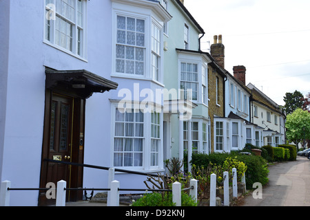 19th century period cottages on Windhill, Bishop's Stortford, Hertfordshire, England, United Kingdom - Stock Photo