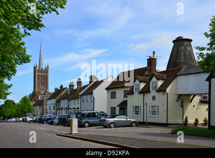 View down Windhill showing St Michael's Church tower, Bishop's Stortford, Hertfordshire, England, United Kingdom - Stock Photo
