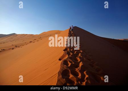 Family climbing sand dune beside Deadvlei, near Sossusvlei, Namib-Naukluft National Park, Namibia, Africa - Stock Photo