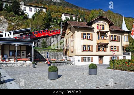 Pilatus Mountain Cogwheel Train Station, Alpnach, Switzerland - Stock Photo