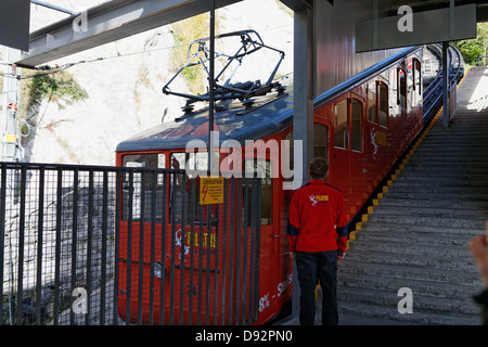 Cogwheel Train Station Ready to Ascend to Pilatus Mountain, Alpnachstad, Switzerland - Stock Photo