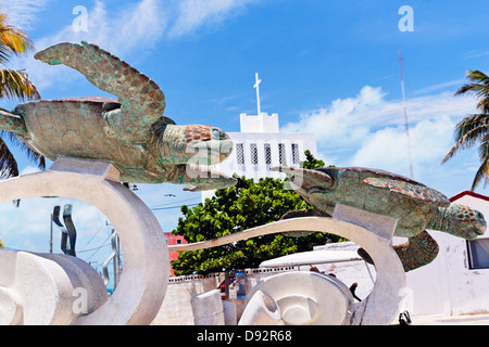 Low Angle Close Up View of the La Tortuga Sculpture, Isla Mujeres, Quintana Roo, Mexico - Stock Photo