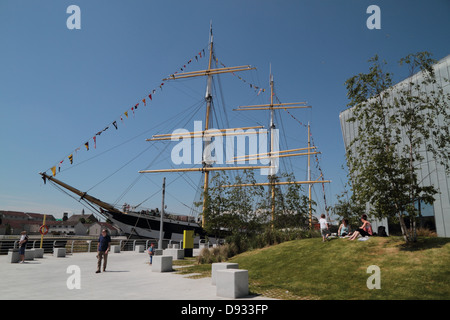 Glenlee is a steel-hulled three-masted barque, built in 1896 for Glasgow owners, trading as a cargo ship.  Glasgow, - Stock Photo