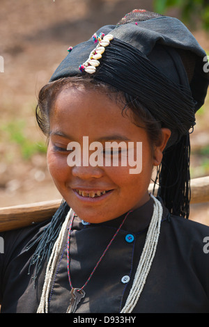 A ANN TRIBAL woman in a village near KENGTUNG or KYAINGTONG - MYANMAR - Stock Photo