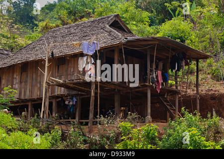 Typical ANN HOUSE in village near KENGTUNG or KYAINGTONG - MYANMAR - Stock Photo