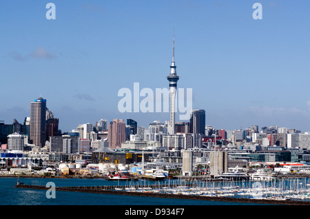 Auckland Skyline, Westhaven Marina, Auckland city, New Zealand - Stock Photo