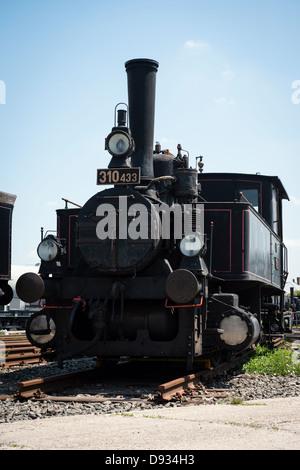 Vintage steam locomotive in museum - Stock Photo