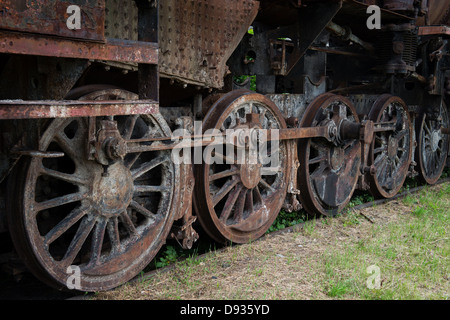 Rusty steam locomotive wheels - Stock Photo