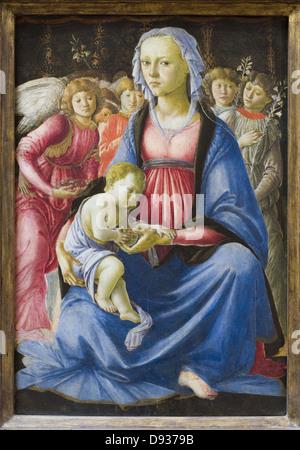 Alesandro Filipepi aka Botticelli The Virgin and the Child surrounded by five angels 1470 XV th Century Italian - Stock Photo