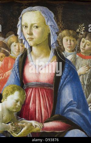 Alesandro Filipepi aka Botticelli The Virgin and the Child surrounded by five angels retail 1470 XV th Century Italian - Stock Photo