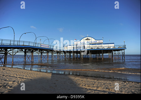 Cleethorpes Pier 39 a traditional victorian pier which is now a nightclub and is currently up for sale - Stock Photo