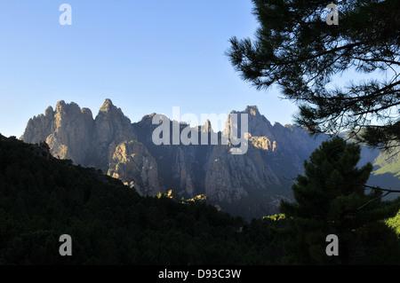 Aiguilles de Bavella, View from Col de Bavella, Col de Bavella, Alta Rocca Region, Corse-du-Sud, Corsica, France - Stock Photo