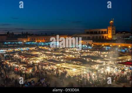 Jemaa el-Fnaa, square and market place in Marrakesh, Morocco - Stock Photo