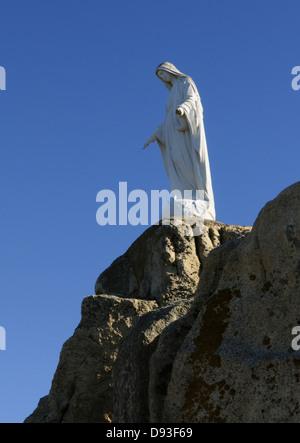 Chapelle de Notre Dame de la Serra with a statue of the virgin Mary, Balagne Region, Haute-Corse, Corsica, France - Stock Photo