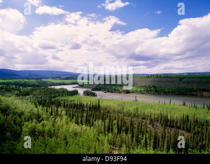 River flowing through lush landscape - Stock Photo