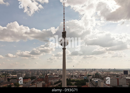 Monument overlooking cityscape, Berlin, Germany - Stock Photo