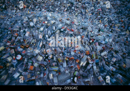 Waste plastic bottles piled up - Stock Photo