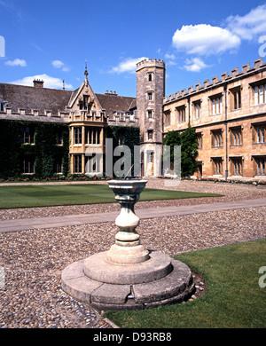 Trinity College and sundial, Cambridge, Cambridgeshire, England, United Kingdom, Western Europe. - Stock Photo
