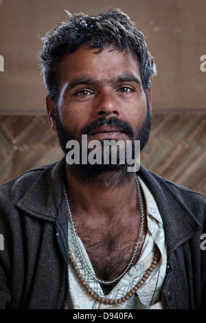 Portrait of a local villager at the Kumbh Mela 2013 in Allahabad, India - Stock Photo