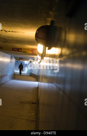 A tunnel in the subway, Stockholm, Sweden. - Stock Photo