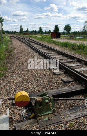 Switch on railroad track - Stock Photo